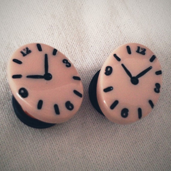 00g 10mm Time is on My Side Clock Watch Plugs piercing gauge streched lobes body art sweets chic fun funky street fashion neon