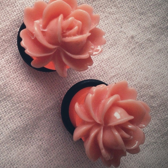 Orange Blossom 00g 10mm Plugs Gauged Studs pastel Flower Plugs Decora body piercings Gyaru