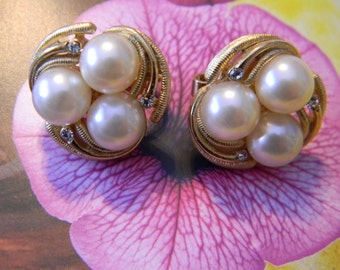 EARRINGS, Lovely Trifari Pearl Earrings - 1960's