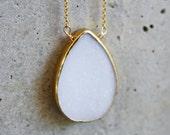 SALE - White Agate Druzy Bezel 14k Gold Filled Necklace