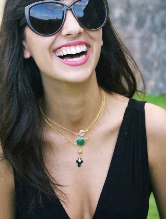 Onyx Cross 14k Gold Filled Necklace