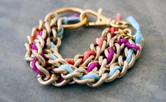 Triple Silk Braided Gold Chain Bracelet
