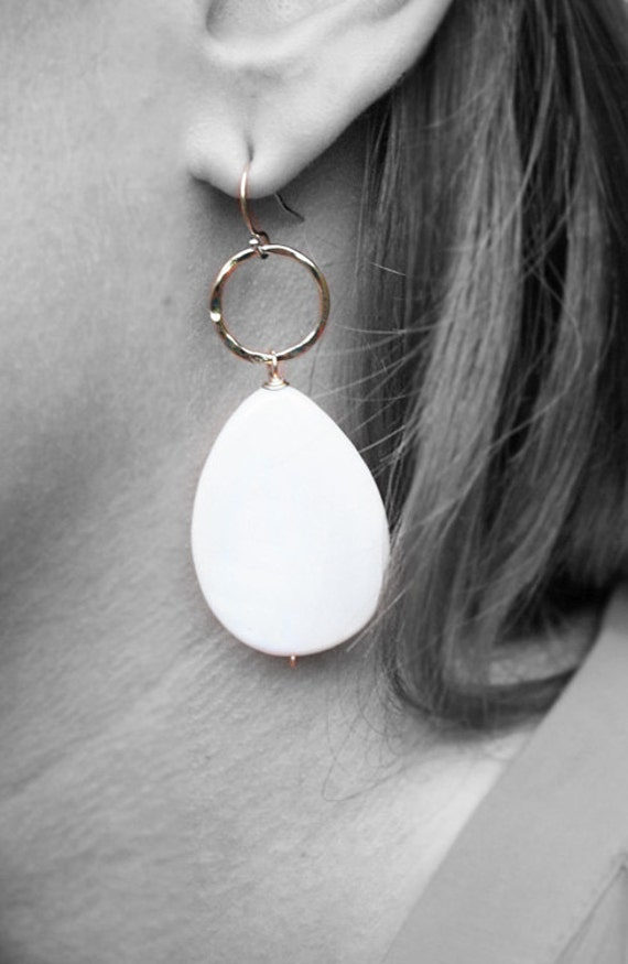 SALE - White Mother of Pearl Drop Gold Earrings