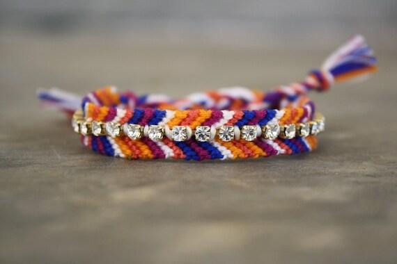 Rhinestone Friendship Bracelet - Purple Plum, Blue, Tangerine Orange and White