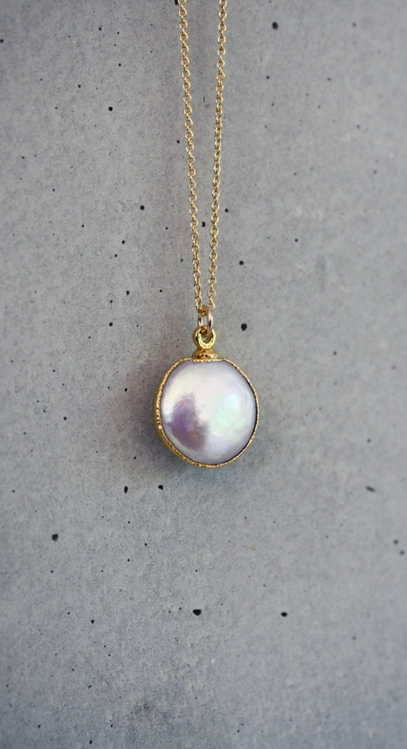 Freshwater Coin White Pearl Bezel 14k Gold Filled Necklace