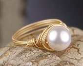 Wire Wrapped Ring - Gold Tone- Textured Brass with White Swarovski Pearl - Any Size- Size 4, 5, 6, 7, 8, 9, 10, 11, 12, 13, 14