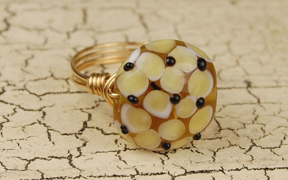 SALE- Wire Wrapped Ring - Honey Colored Hydrangea Lampwork Bead - Any Size- Size 4, 5, 6, 7, 8, 9, 10, 11, 12, 13, 14