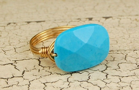 Gold Tone Wire Wrapped Ring - Faceted Turquoise Gemstone - Any Size- Size 4, 5, 6, 7, 8, 9, 10, 11, 12, 13, 14