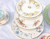 Wildflowers Vintage 3 Tiered Cake Stand for Cream Teas, Cupcakes and Weddings