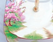 Romantic Vintage 2 Tiered Cake Stand for Afternoon Tea and Weddings -  Blue Skies and Cherry Blossom