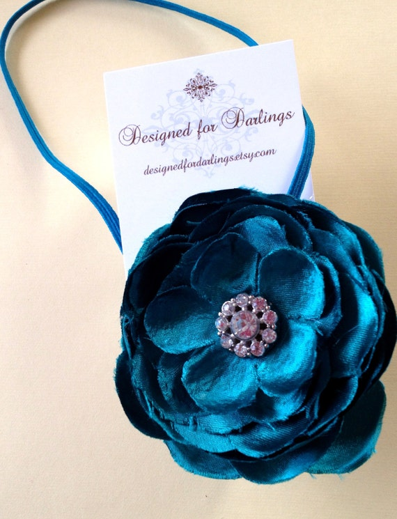 Flower Elastic Headband-Blue with Pearl accent