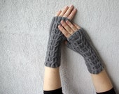 Dark grey Hand-knitted Cabled Fingerless Gloves/ Wrist Warmers.Ready to ship.