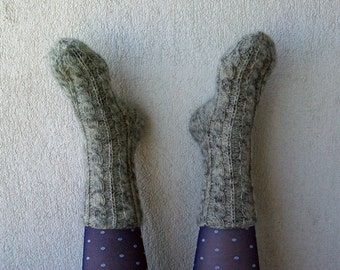 Wool Socks  Cabled Warm and Soft Hand knitted grey leg warm  Ready to ship