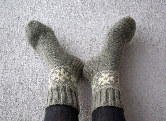 Hand Knitted Socks Knitted Men's socks Knittes Women's Socks from grey 100% wool yarn With white ornament Wool Socks Ready to ship.