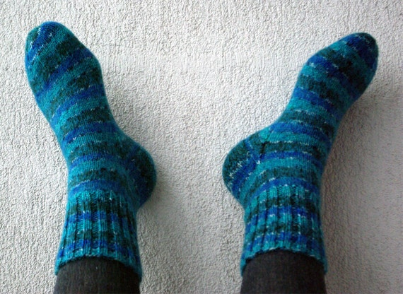 Hand Knit Wool Socks - ready to ship.