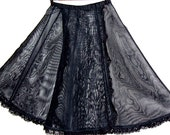 Vintage Black Wrap Around Crinoline Net Half Slip Petticoat with Velcro at Waist