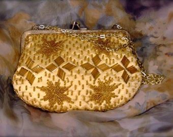 Gold Beaded Evening  Bag Made in Hong Kong