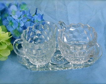 Indiana Whitehall Sugar and Creamer and tray Clear Molded