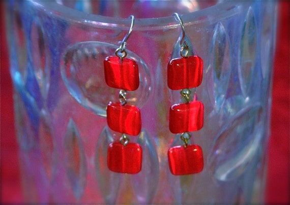 Vintage Red Dangle Earrings WithThree Red Stones