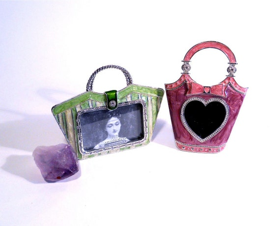 Two Cute Decorative Purse Frames in Pink and Green
