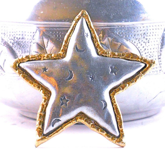Great Star Brooch by JJ,  Design and Vintage With Stars and Moon