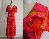 Vintage Hawaiian Dress / 60s Psychedelic Dress / Hawaiian Maxi Dress 60s / 60s Bright Dress