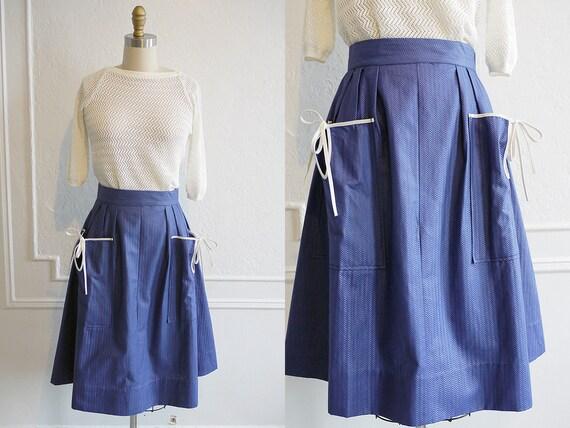 Vintage 1950s Skirt / Blue 1950s Skirt / 50s Skirt With Pockets / Vintage Fashion