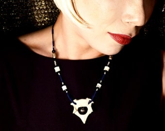 Real Animal Bone Necklace Rich Royal Blue  Beads African Heishei Primitive Goth Glam Tribal 3