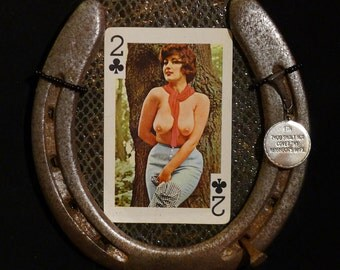 Lucky Horseshoe Retro Pin Up 60's Nudie Playing Card Lucky Horseshoe Wall Art OOAK 34