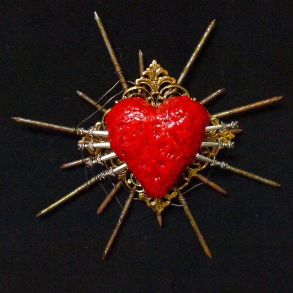 Art Wall Art Sacred Heart Unique Found Object Art with Nails Wire One of a Kind Wall Decor 15