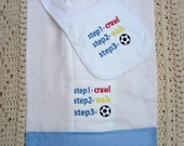 Baby Boy's Bib and Burp Cloth Set for Future Soccer Stars..
