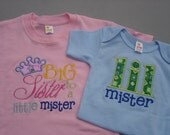 Big Sister to a Little Mister tshirt with matching Lil Mister Onesie Set..