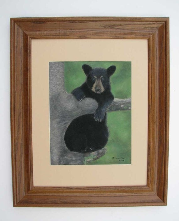 Original Black Bear Cub Painting (Just Hanging Out) by Dawn Ash