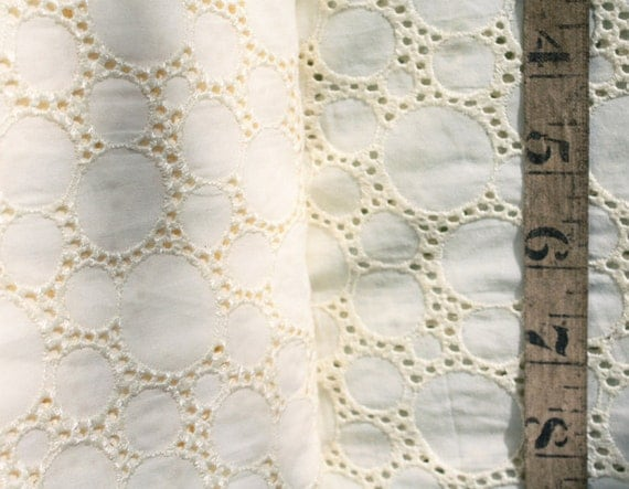 Listing for Trish: Cream Cotton Bubble Eyelet Fabric