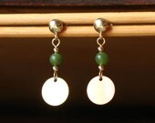 Green Jadeite and Goldfilled Disc Dangle Earrings