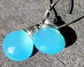 Aqua Chalcedony Heart Briolette Long Drop Earrings - 925 Sterling Silver