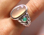 Rose quartz and Chrysoprase braid ring in sterling silver sz 6 1/2