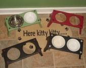 Raised Cat Feeding Station - 2 Bowl