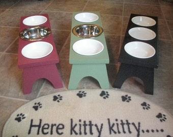 Raised / Elevated Cat Feeding Station - 3 Bowl