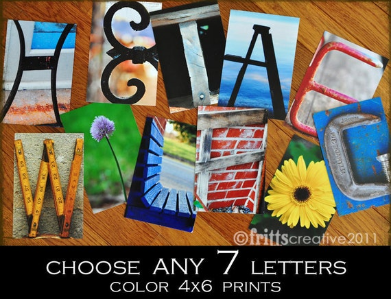 Alphabet Photography 4x6 Color  Individual Photo Letters ANY 7 LETTERS