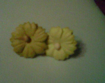 yellow green paper flower earrings
