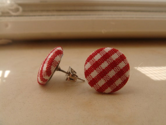Red Gingham Fabric Earrings