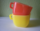 Pair of Glasbake square soup mugs yellow and orange 1960s
