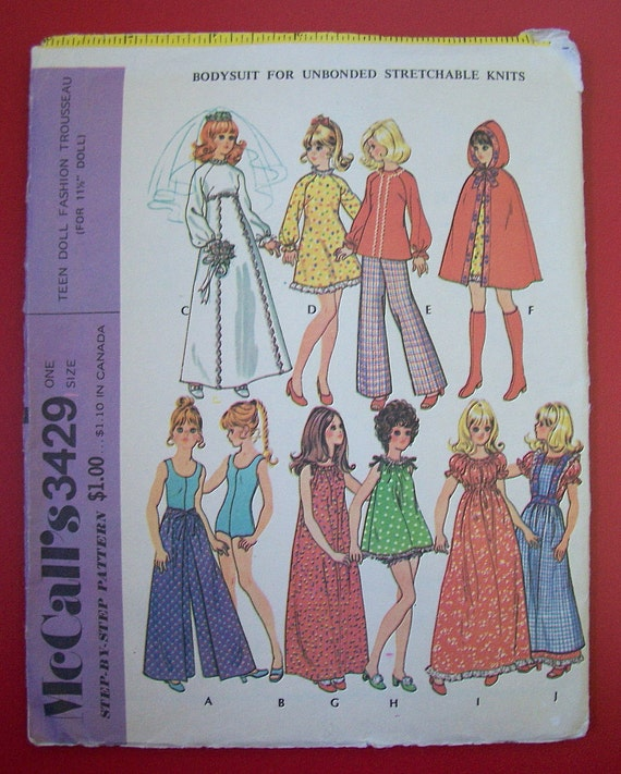Vintage 1972 McCalls doll outfit pattern 3429
