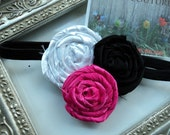 Gorgeous Posh Super Rock Star Dark Pink White Black rosette flower  Headband Baby & girls photograpy prop Bow Rosette