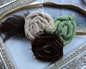 Gorgeous Posh Sawgrass Chocolate feathered dip gem rosette flower Headband Baby & girls photograpy prop Bow Rosette