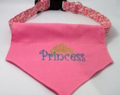 Princess  Dog  Bandana - Over the collar