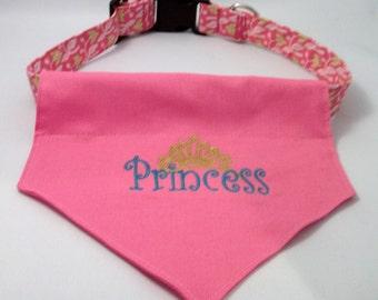 Princess  Dog  Bandana - Over the collar