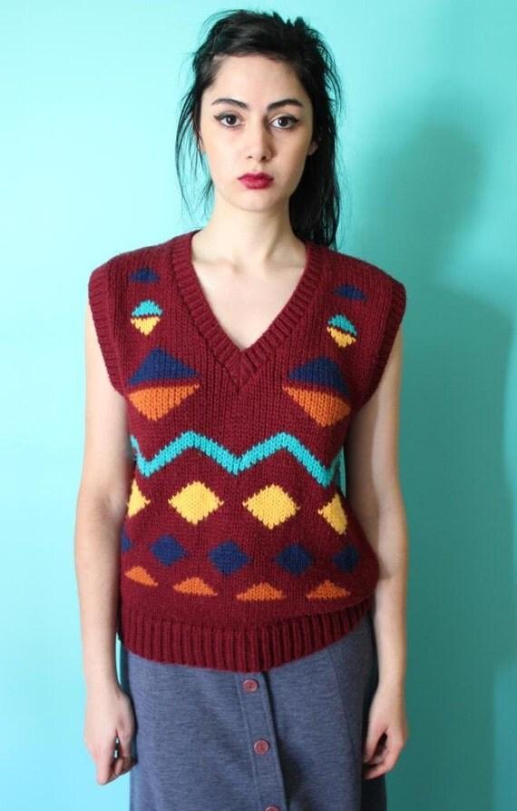 SUPER SALE - Vintage 80s Geometric Sweater Vest / Maroon Grandpa Vest Top / Multicolor Shapes (XS-L)