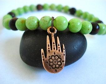 Henna Hand Bracelet, Green Turquoise, Wooden Mala Beads, Copper Henna Hand Charm Yoga Bracelet